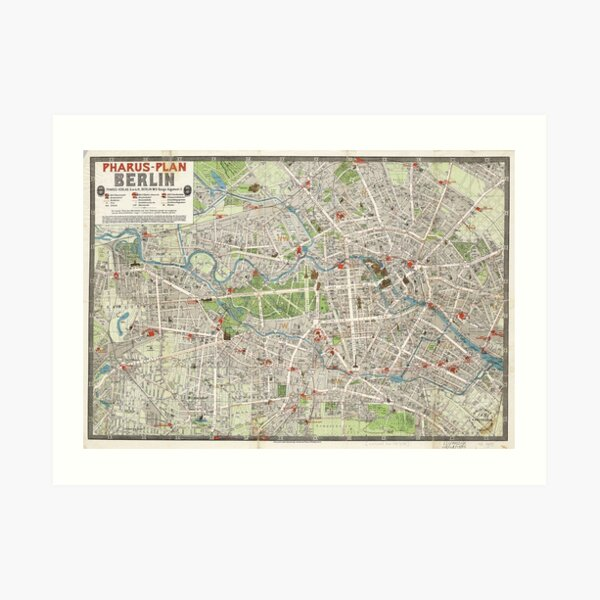 Vintage Map of Berlin Germany (1905) Art Print