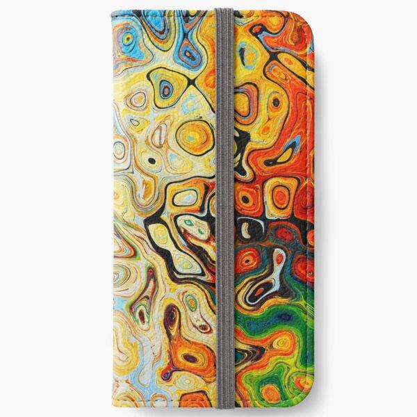 Bunte Ölflecken iPhone Flip-Case