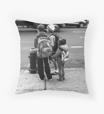 City kids waiting for the bus Throw Pillow