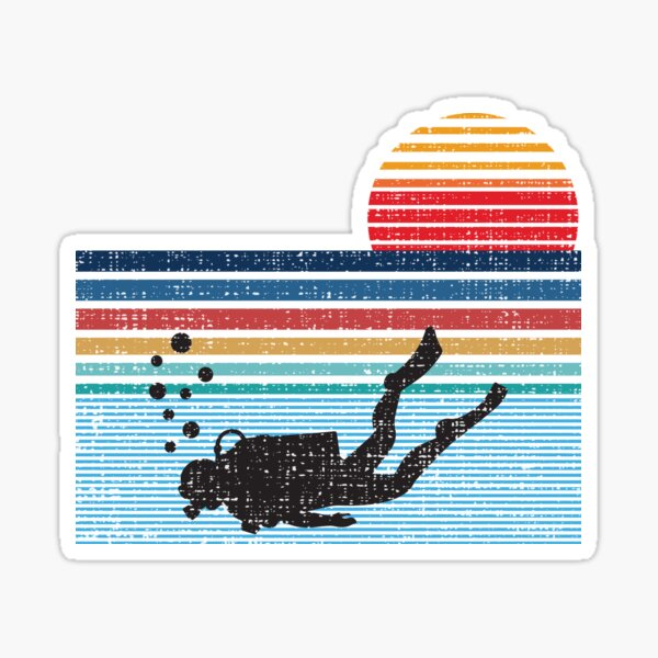 Vintage Retro Scuba Diving Gifts For Scuba Diver Sticker