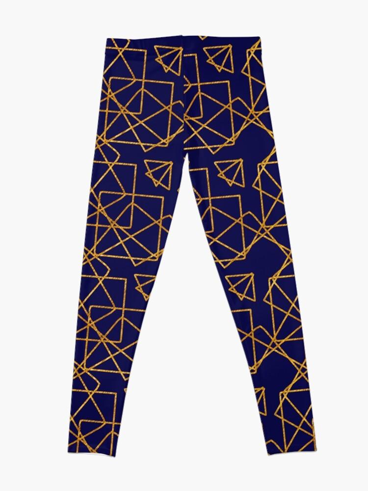 Alternate view of Navy blue and gold geometric print. Leggings