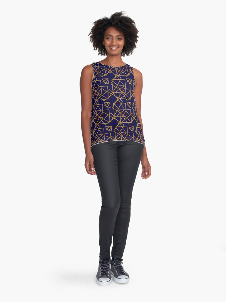 Alternate view of Navy blue and gold geometric print. Sleeveless Top