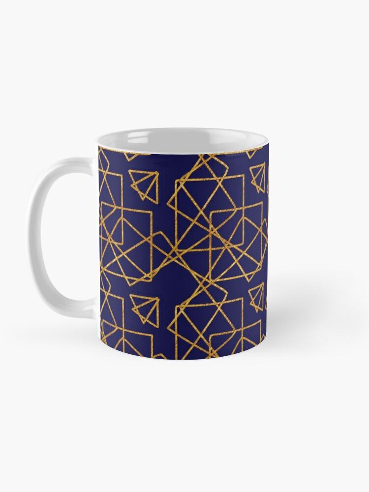 Alternate view of Navy blue and gold geometric print. Mug