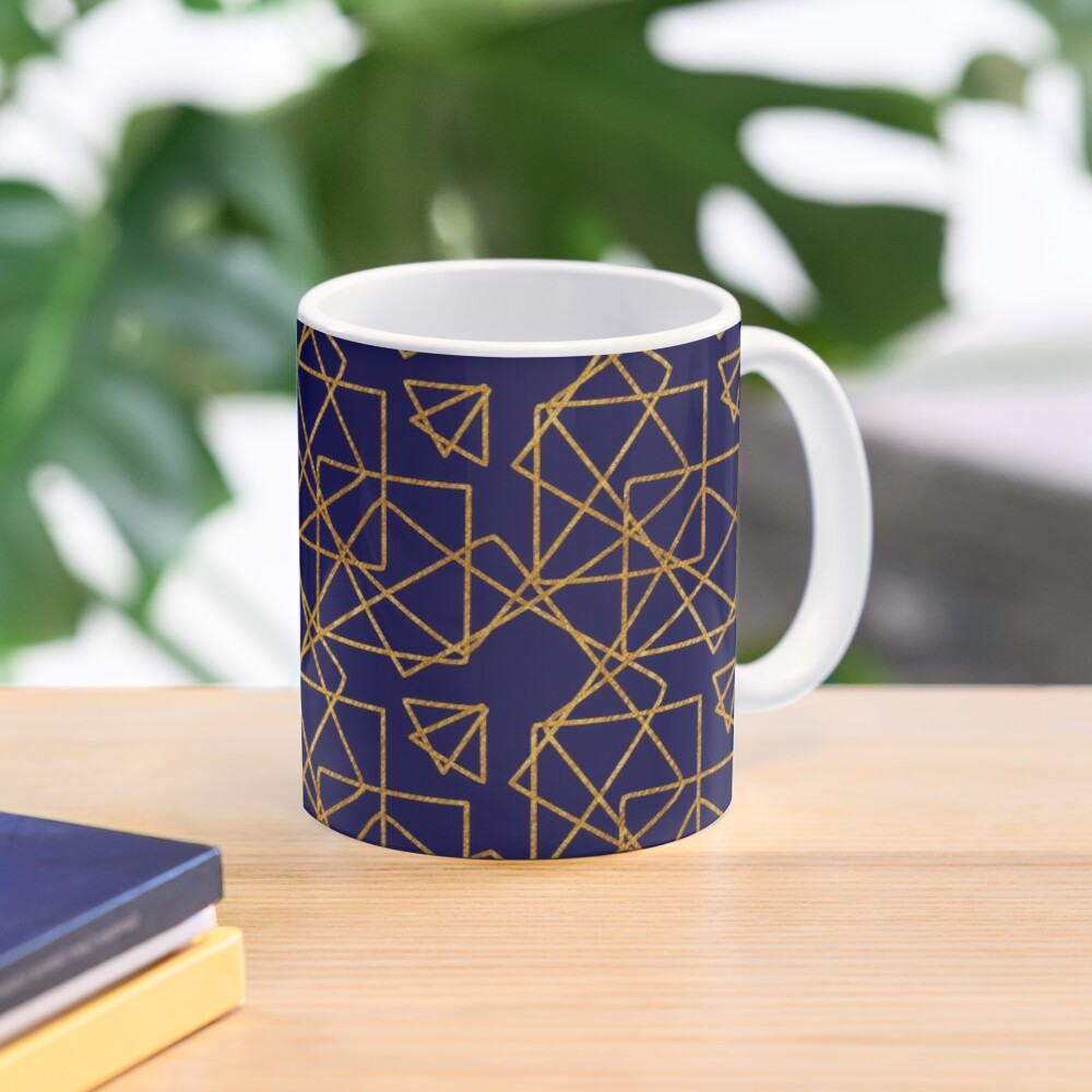 Navy blue and gold geometric print. Mug