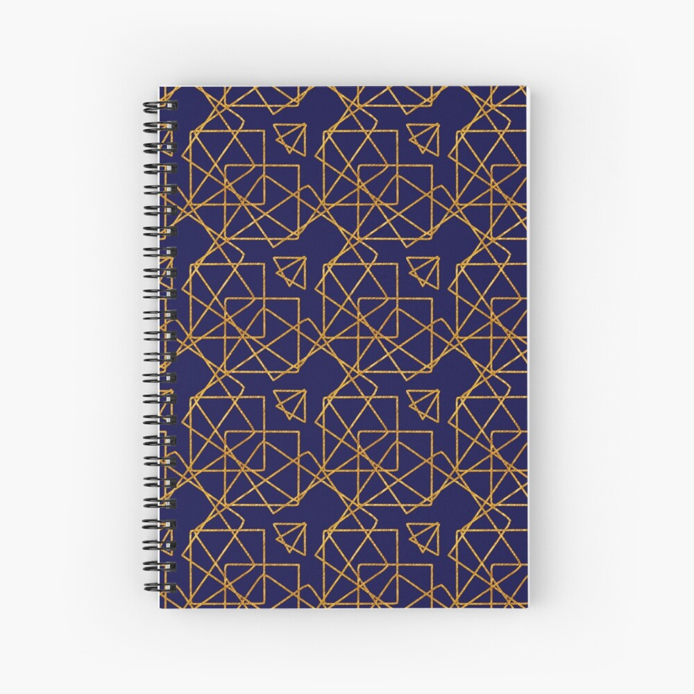 Navy blue and gold geometric print. Spiral Notebook