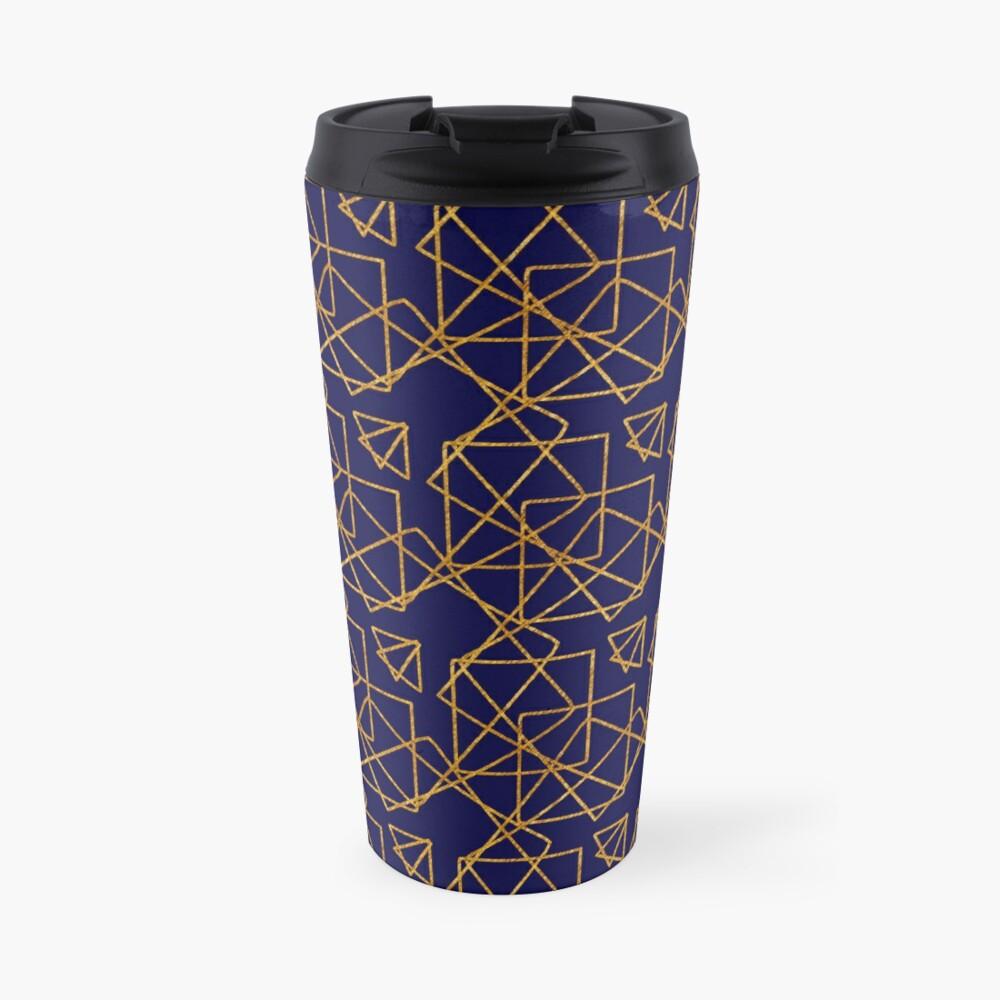 Navy blue and gold geometric print. Travel Mug