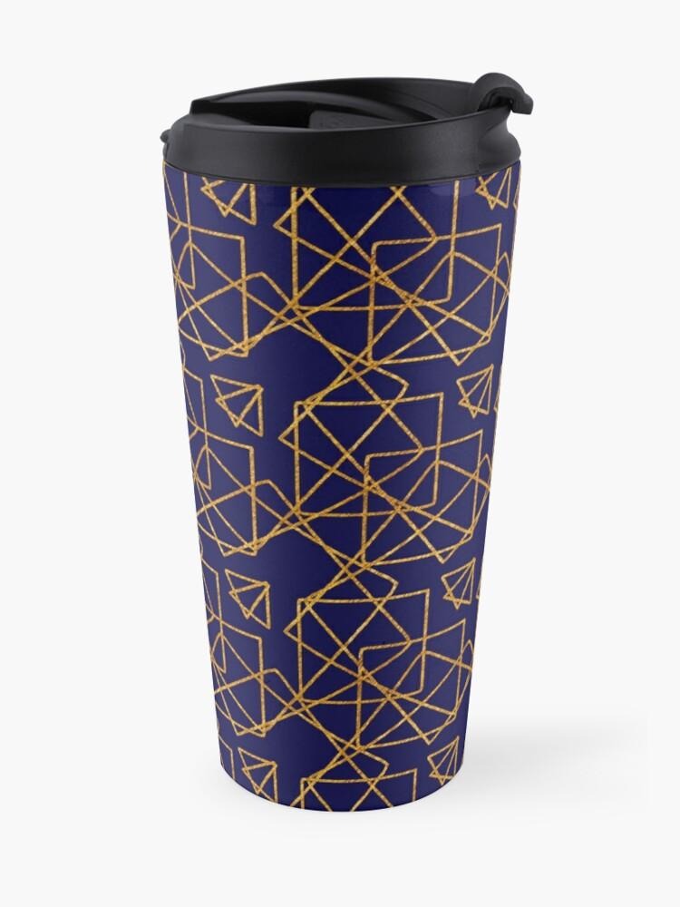 Alternate view of Navy blue and gold geometric print. Travel Mug