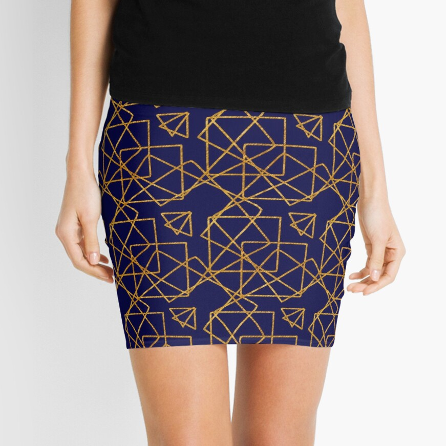 Navy blue and gold geometric print. Mini Skirt