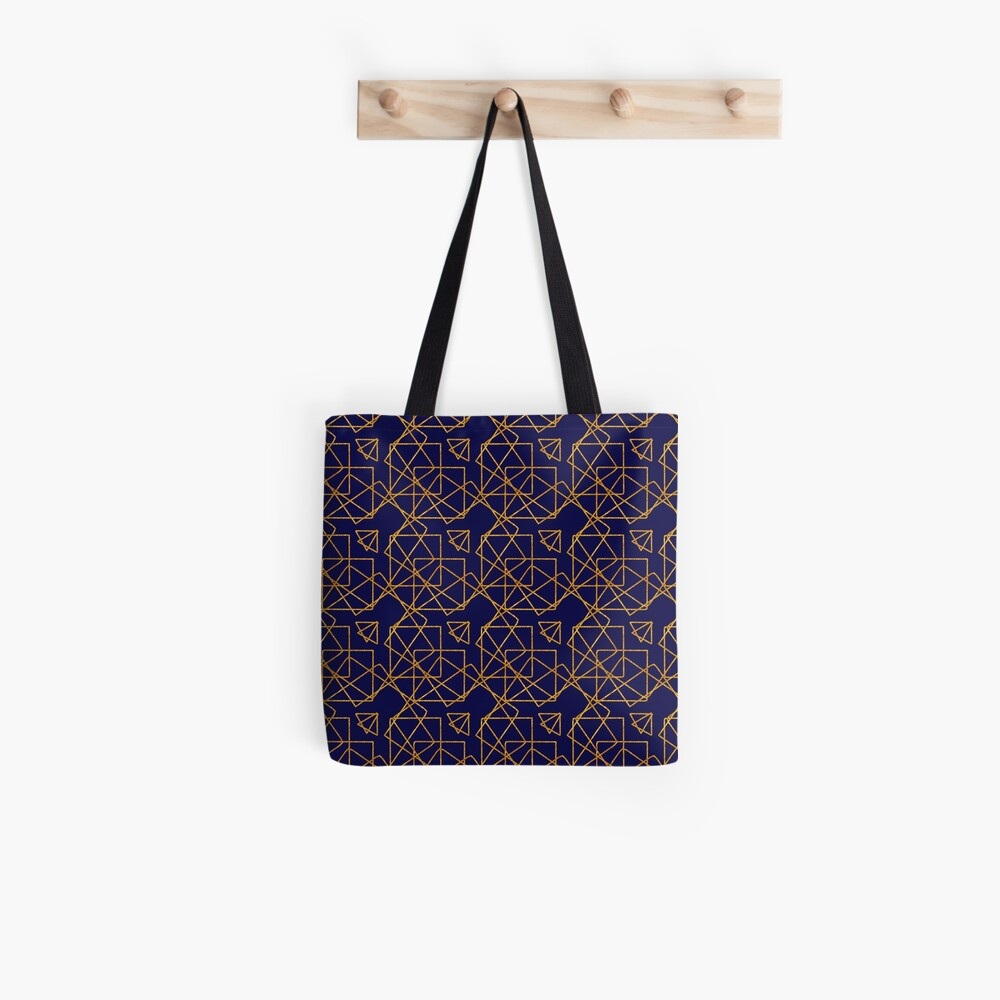 Navy blue and gold geometric print. Tote Bag