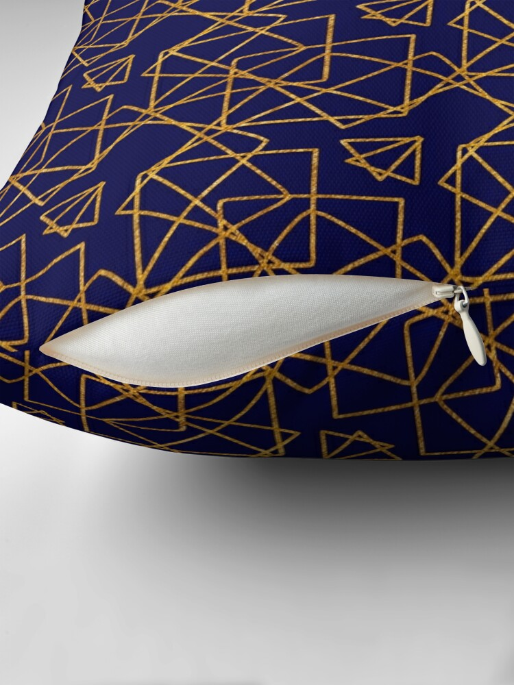 Alternate view of Navy blue and gold geometric print. Throw Pillow