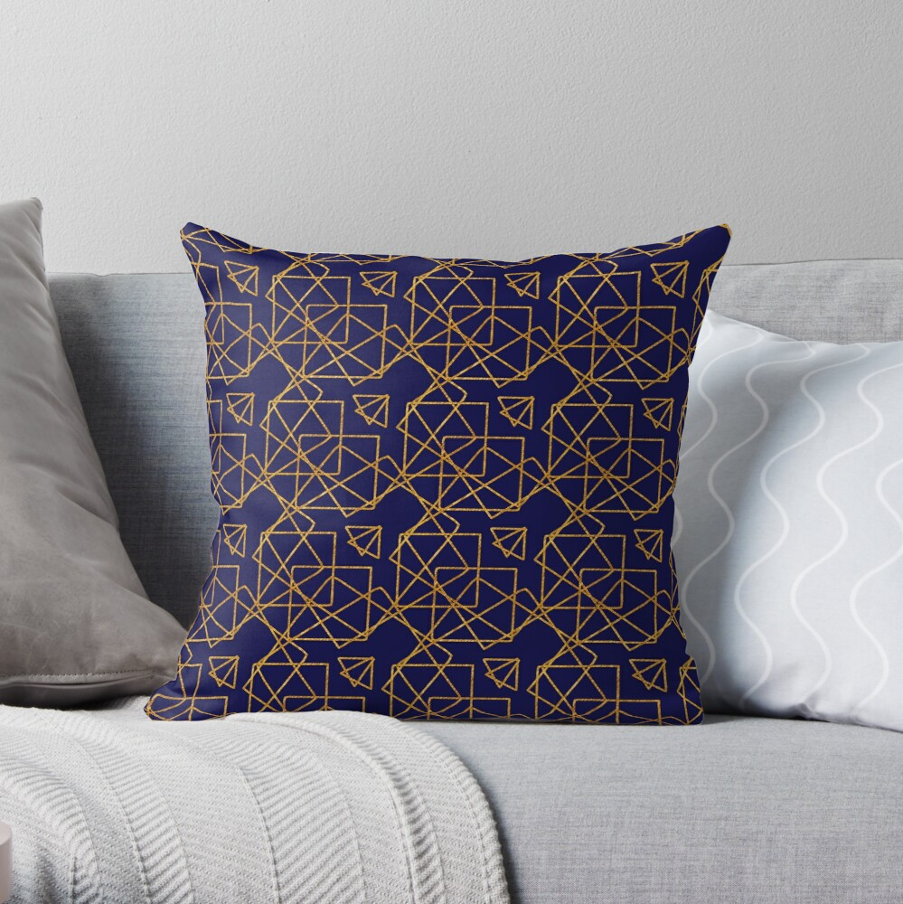 Navy blue and gold geometric print. Throw Pillow