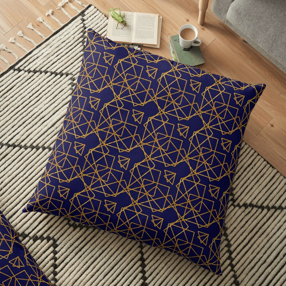 Navy blue and gold geometric print. Floor Pillow