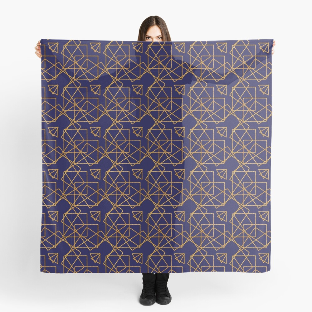 Navy blue and gold geometric print. Scarf