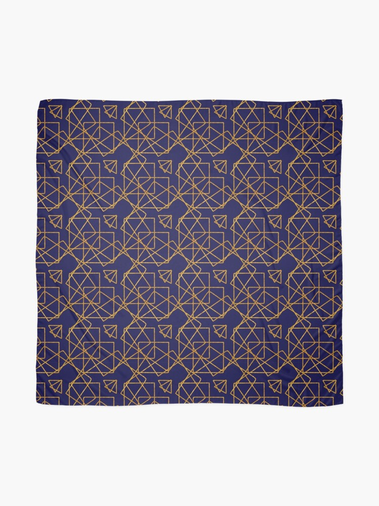 Alternate view of Navy blue and gold geometric print. Scarf