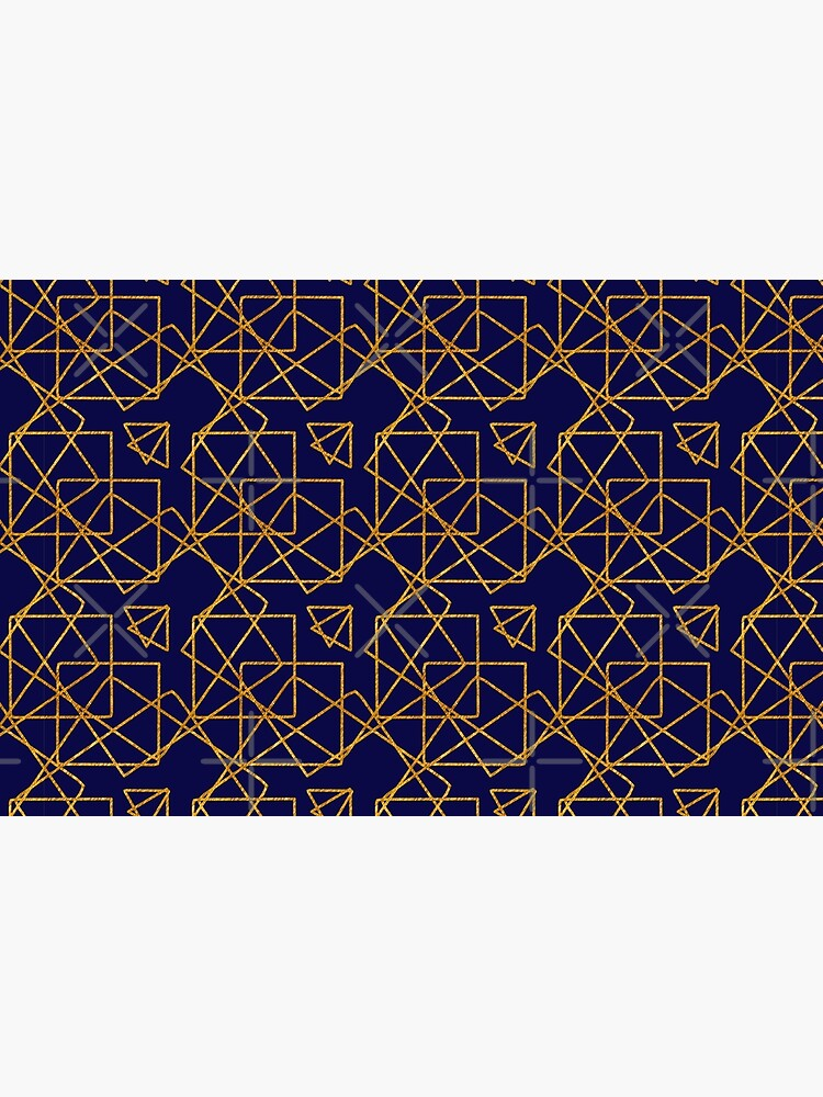 Navy blue and gold geometric print. by cardwellandink