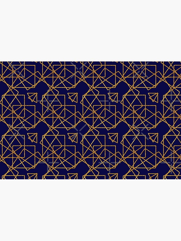 Navy blue and gold geometric print. by cardwellandink
