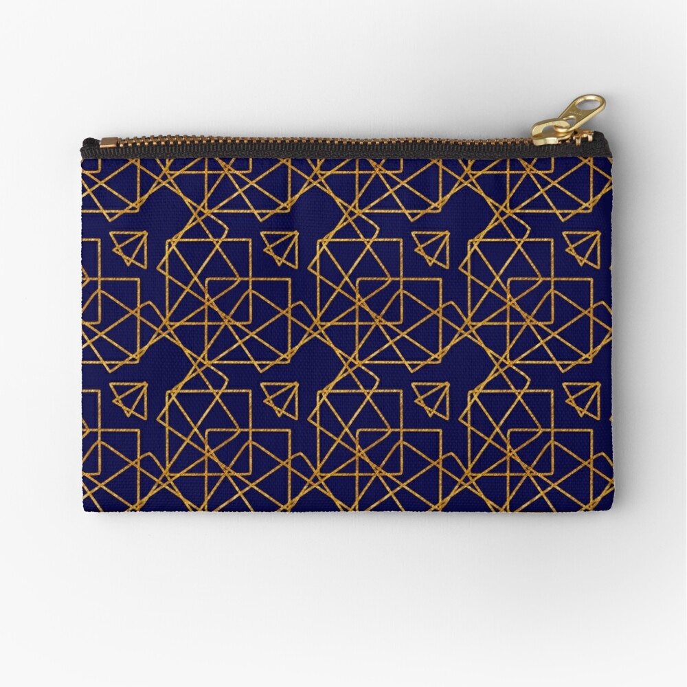 Navy blue and gold geometric print. Zipper Pouch
