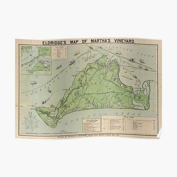 Carte vintage du vignoble de Marthas (1913) Poster