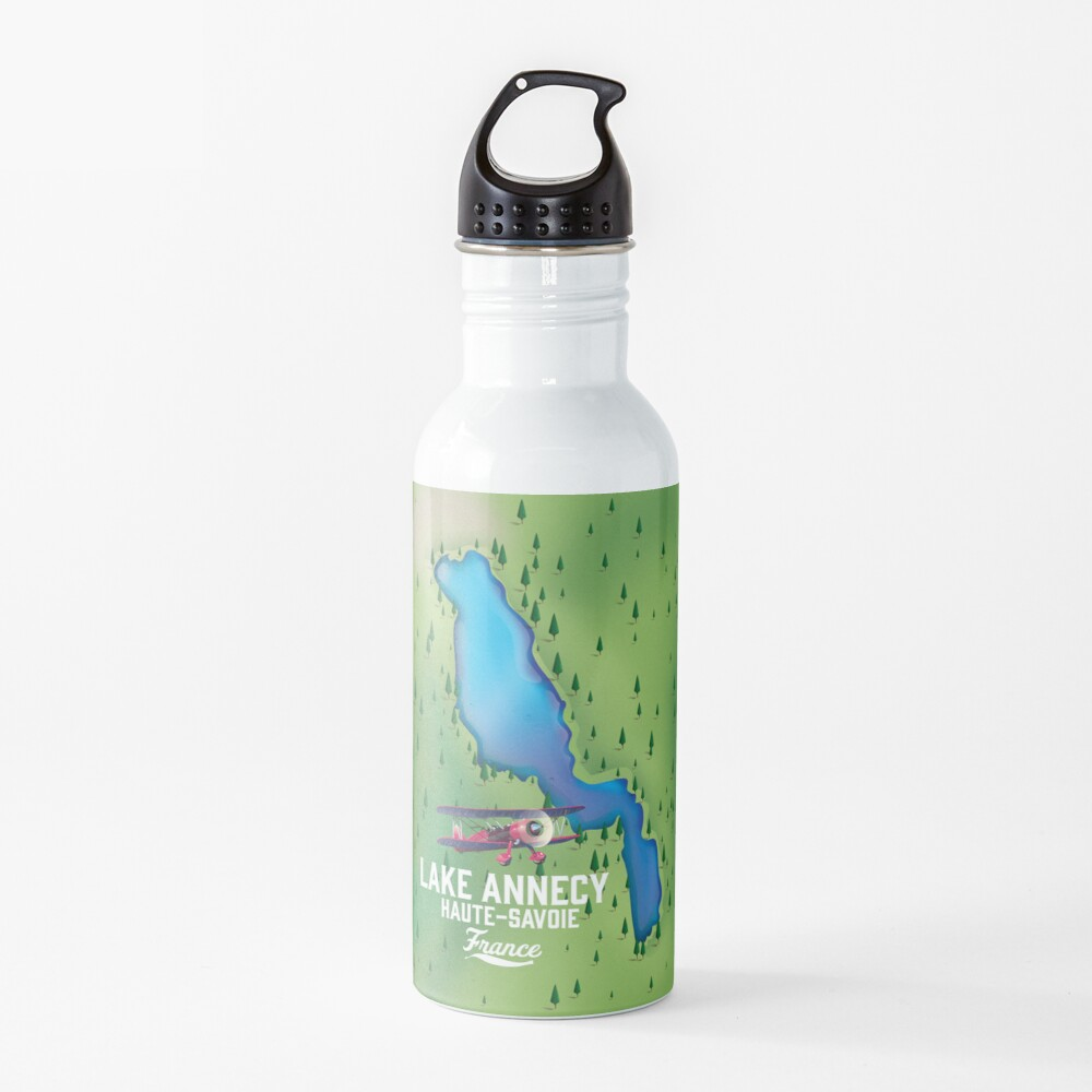 Lake Annecy Haute-Savoie France map Water Bottle
