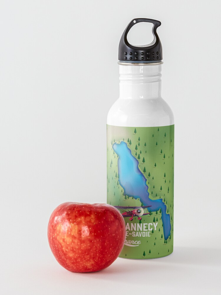Alternate view of Lake Annecy Haute-Savoie France map Water Bottle