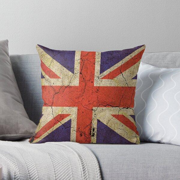 'Cracked Britannia' Union Jack Flag Throw Pillow