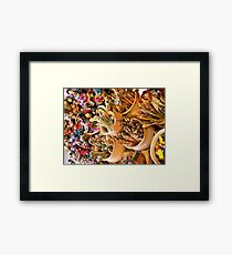 Traditional dolls and spoons Framed Print