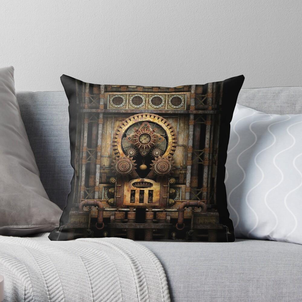 Infernal Steampunk Vintage Machine #3 Throw Pillow