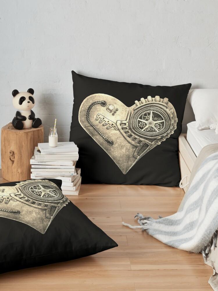 Alternate view of Steampunk Vintage Clockwork Heart Steampunk T-Shirts Floor Pillow