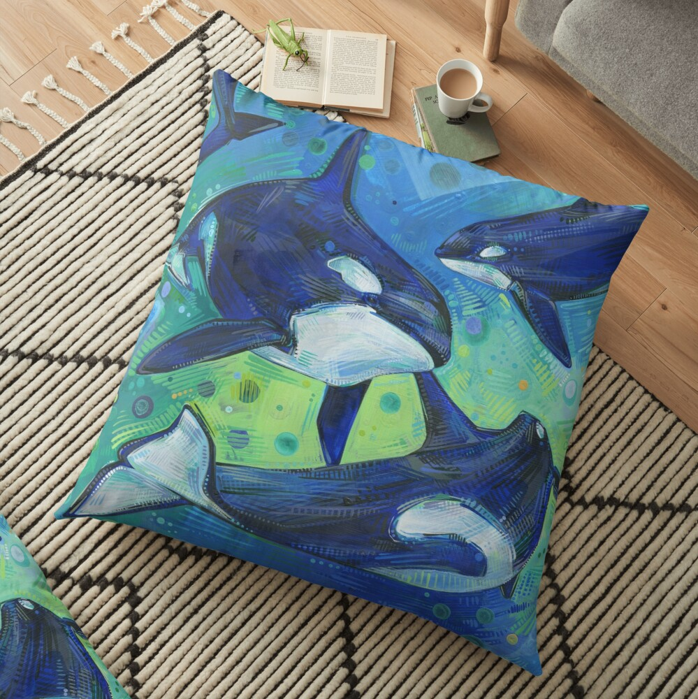 Orcas painting - 2012 Floor Pillow