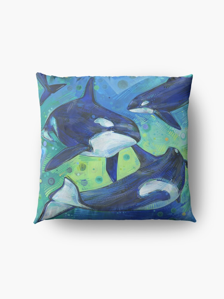 Alternate view of Orcas painting - 2012 Floor Pillow