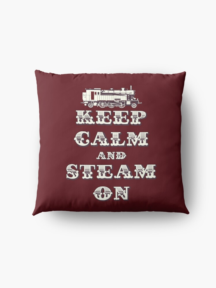 Alternate view of Keep Calm and Steam On Steam Engine #1B Floor Pillow