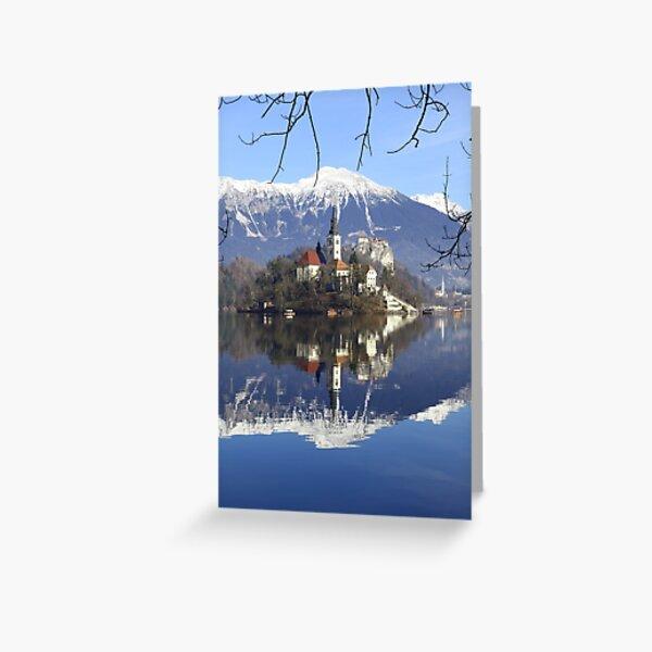 Church on island at Lake Bled Slovenia Greeting Card