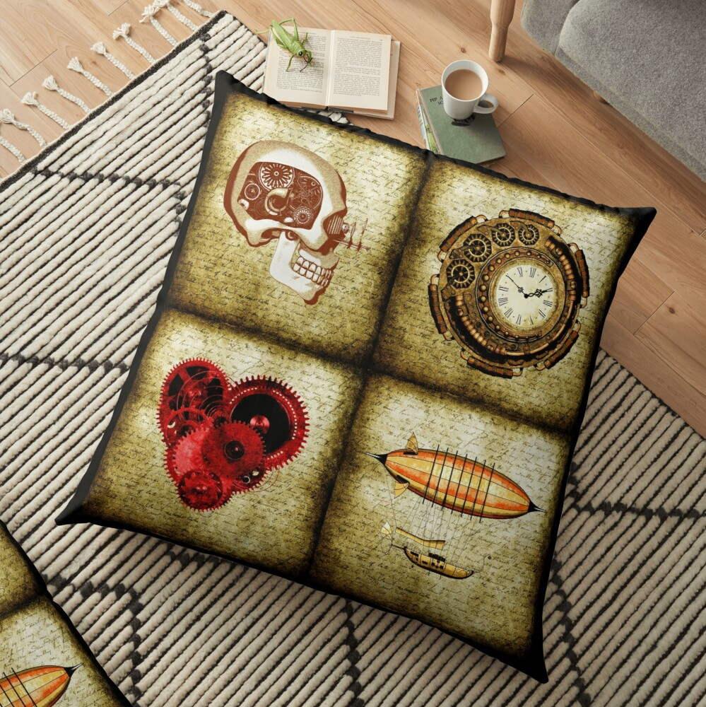 Vintage Steampunk Floor Pillow