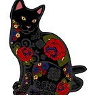 Black Cat with Flower Tattoos by epitomegirl