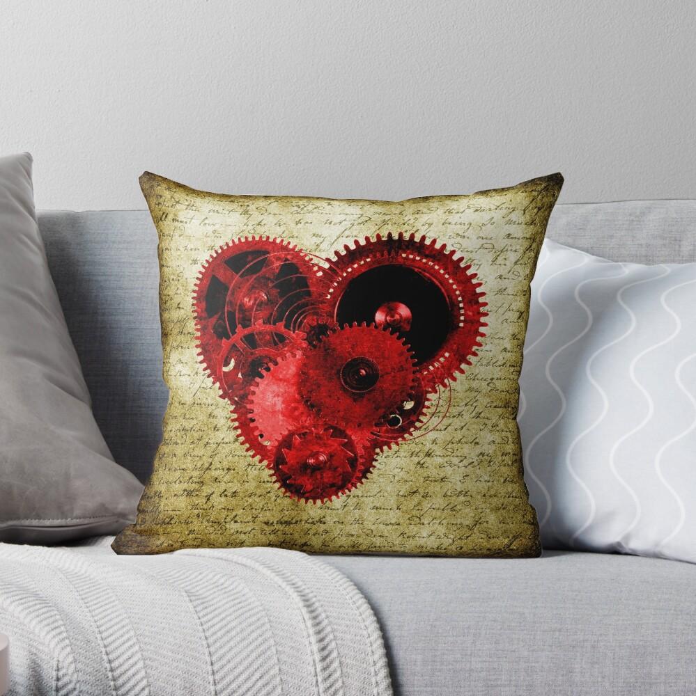 Vintage Steampunk Heart Throw Pillow