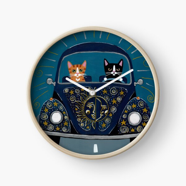 Sun and Stars and Moon Road Trip Cats Clock