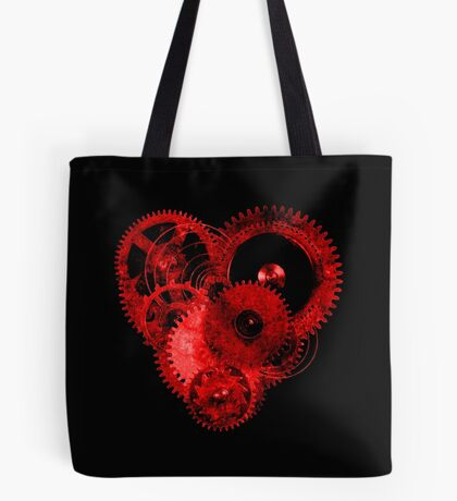 Steampunk Gears Red Heart Tote Bag