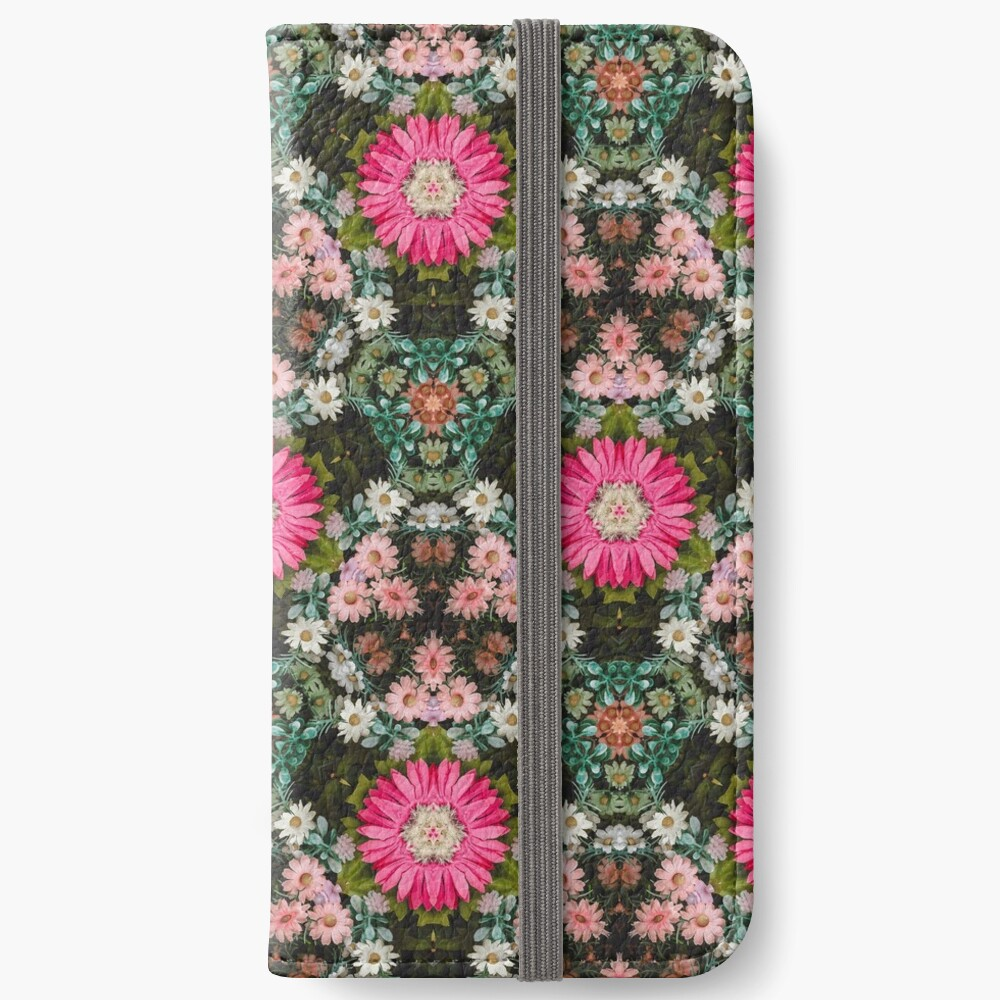 Flower Patch Photo Kaleidoscope Pattern iPhone Wallet
