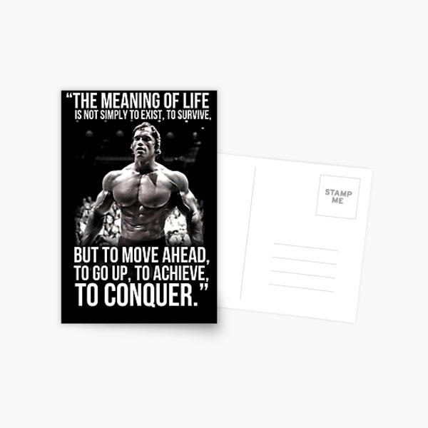 Arnold Schwarzenegger Arnie Conquer Quote Postcard
