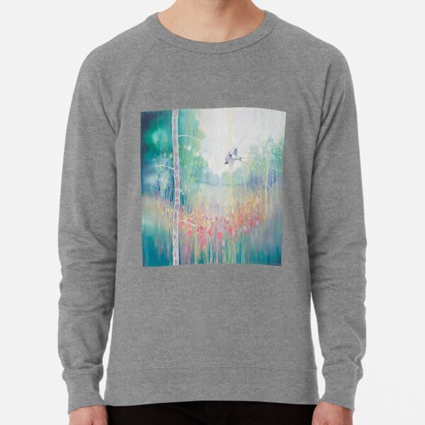 Weaving Summer - a summer meadow with swallows and wildflowers Lightweight Sweatshirt