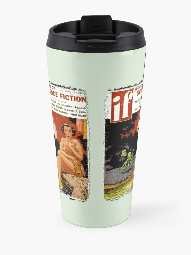 Alternate view of Invasion Of The Little Green Men (Aliens and Spaceship and Surprised Sunbather) Travel Mug
