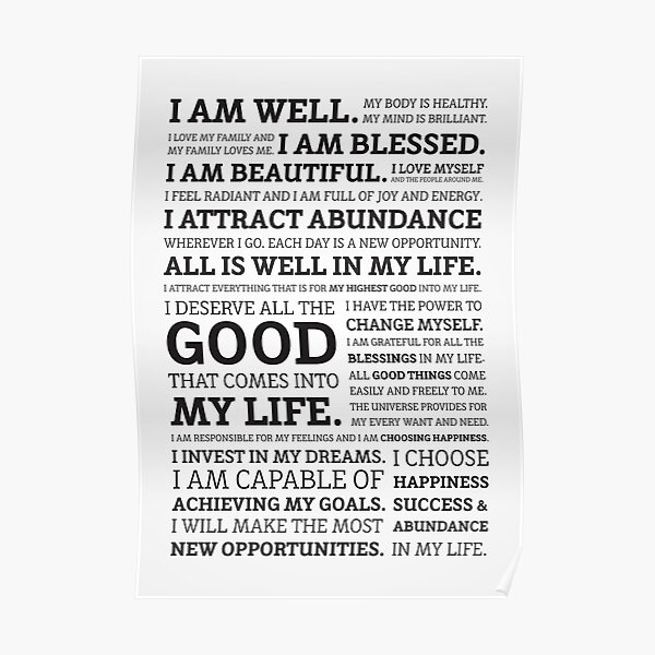 Positive Affirmations (Black on White/Grey) Poster