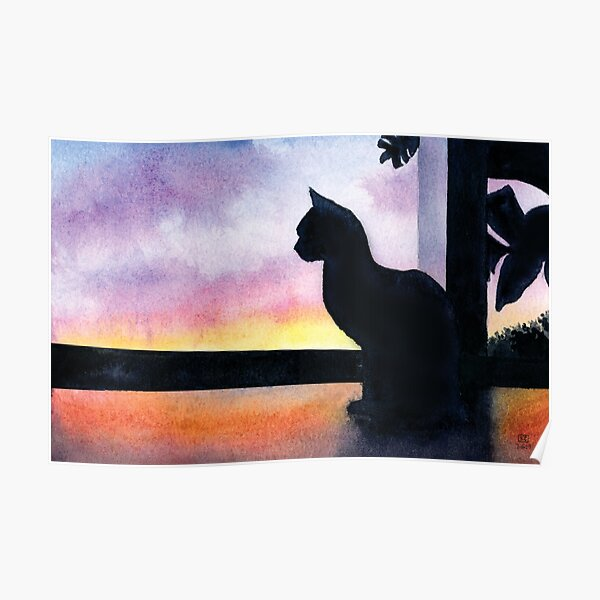 Cat Viewing a Sunset in Watercolor Poster