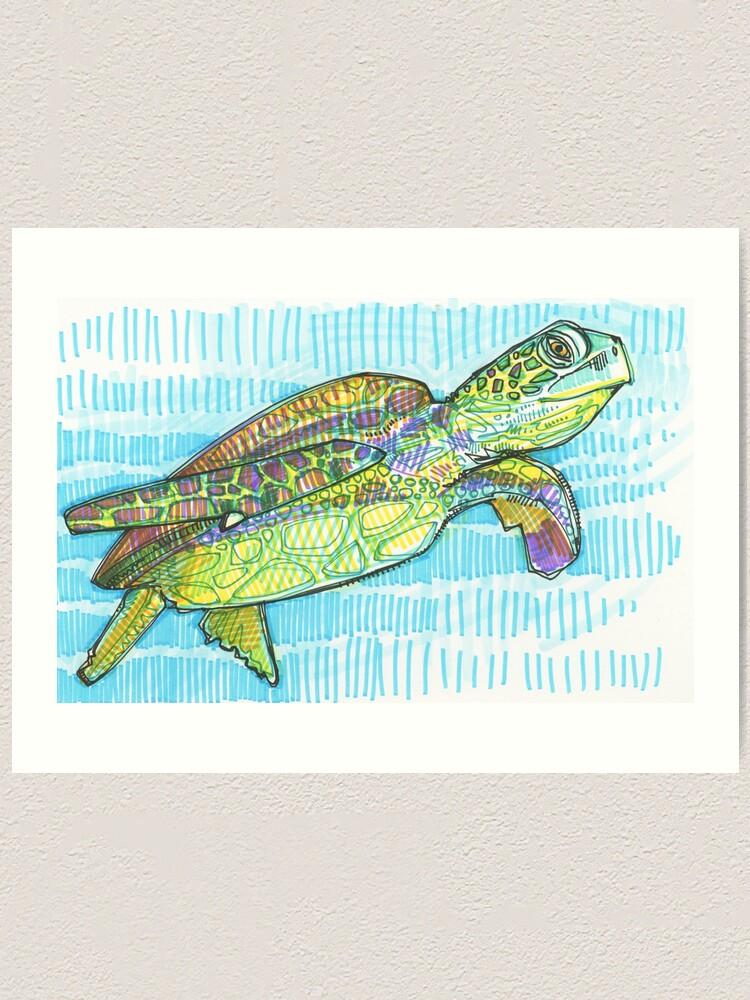 Alternate view of Sea Turtle Drawing - 2015 Art Print