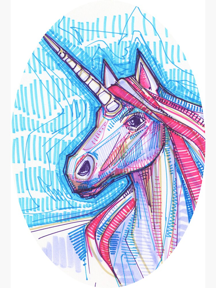 Unicorn Drawing - 2015 by gwennpaints