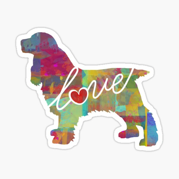 Cocker Spaniel Love - A Bright and Colorful Watercolor Style Gift Sticker