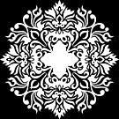Floral Crest Filigree White on Black Pattern by infinitetango