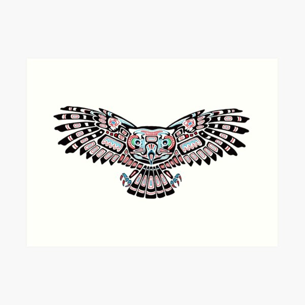 Mystic Owl in Native American Style art Art Print