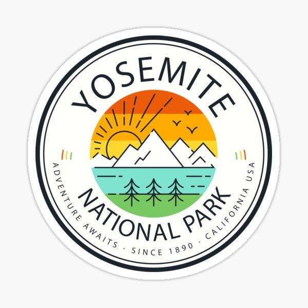 Yosemite National Park Retro Mountain Sticker Sticker