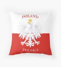 Retro Polish Polska Flag Throw Pillow
